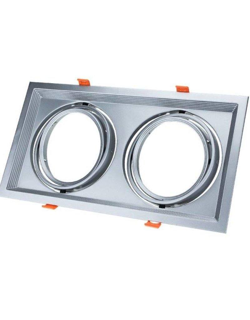 Einbaurahmen für LED AR111 Rechteckig 335x185mm Schwenkbar 2 Spots Silber 2er Packung