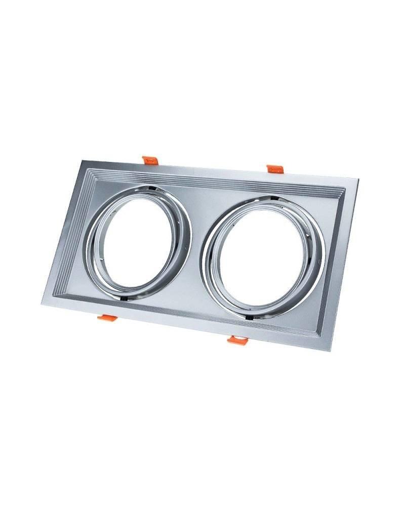 LEDFactory Einbaurahmen für LED AR111 Rechteckig 335x185mm Schwenkbar 2 Spots Silber 2er Packung