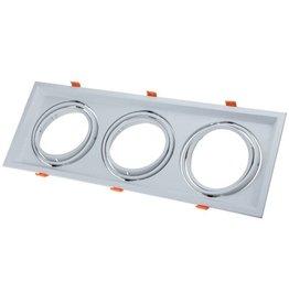 LEDFactory Einbaurahmen für LED AR111 Rechteckig 485x185mm Schwenkbar 3 Spots Weiß 2er Packung