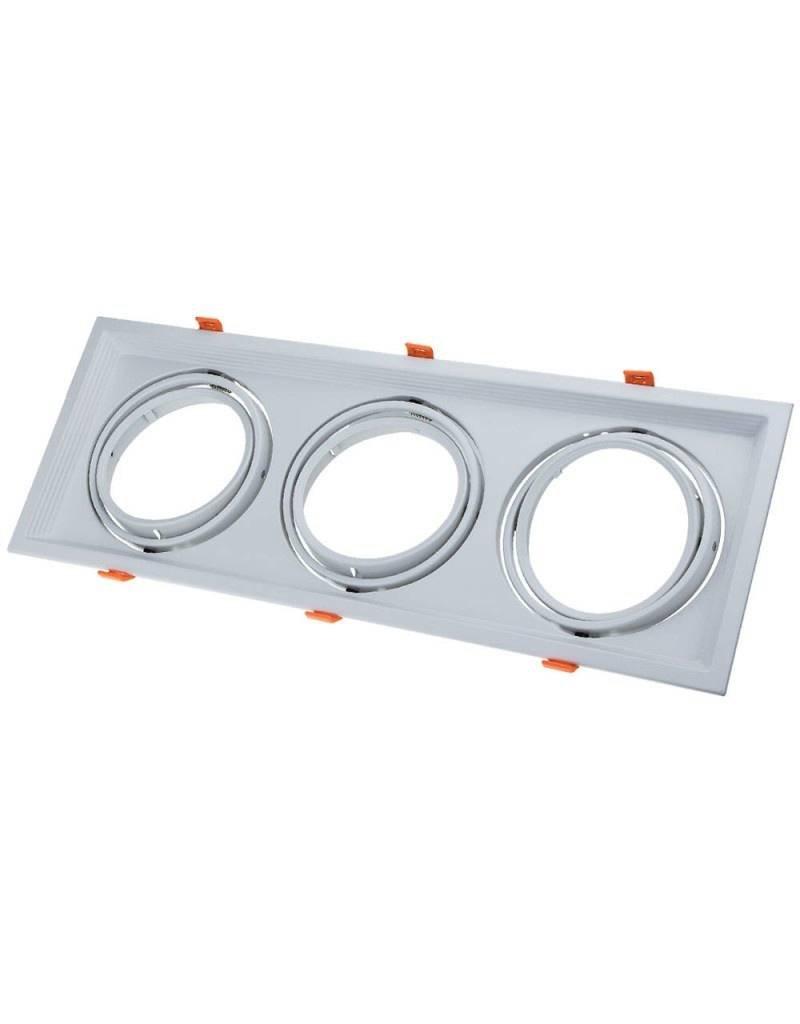 Einbaurahmen für LED AR111 Rechteckig 485x185mm Schwenkbar 3 Spots Weiß 2er Packung