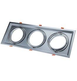 LEDFactory Einbaurahmen für LED AR111 Rechteckig 485x185mm Schwenkbar 3 Spots Silber 2er Packung