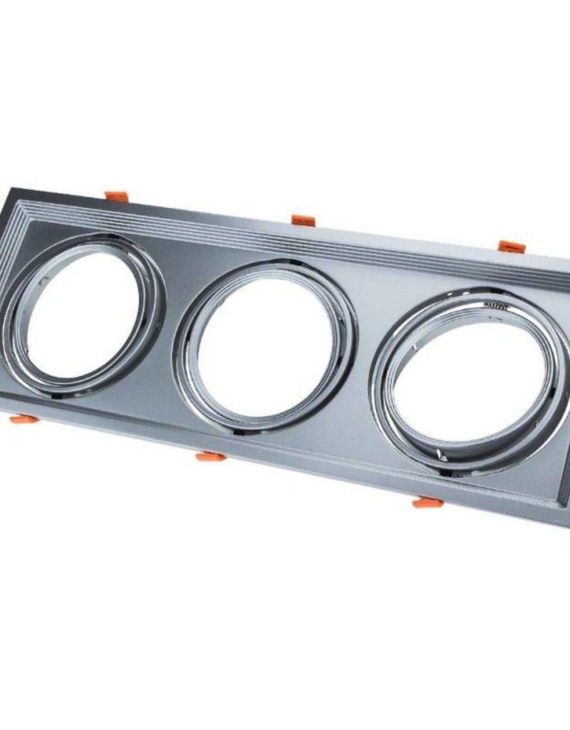 Einbaurahmen für LED AR111 Rechteckig 485x185mm Schwenkbar 3 Spots Silber 2er Packung