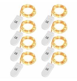 8er Set, 1M Micro LED Lichterkette Kupferdraht Warmweiß, 20 LEDs, Batteriebetrieb