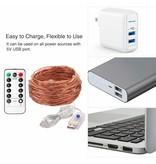 20M LED Kupferdraht Lichterkette, USB Kupferdraht mit 200 LEDs, IP65 Wasserfest, Warmweiß, Zeitschaltuhr Merkfunktion, mit Fernbedienung