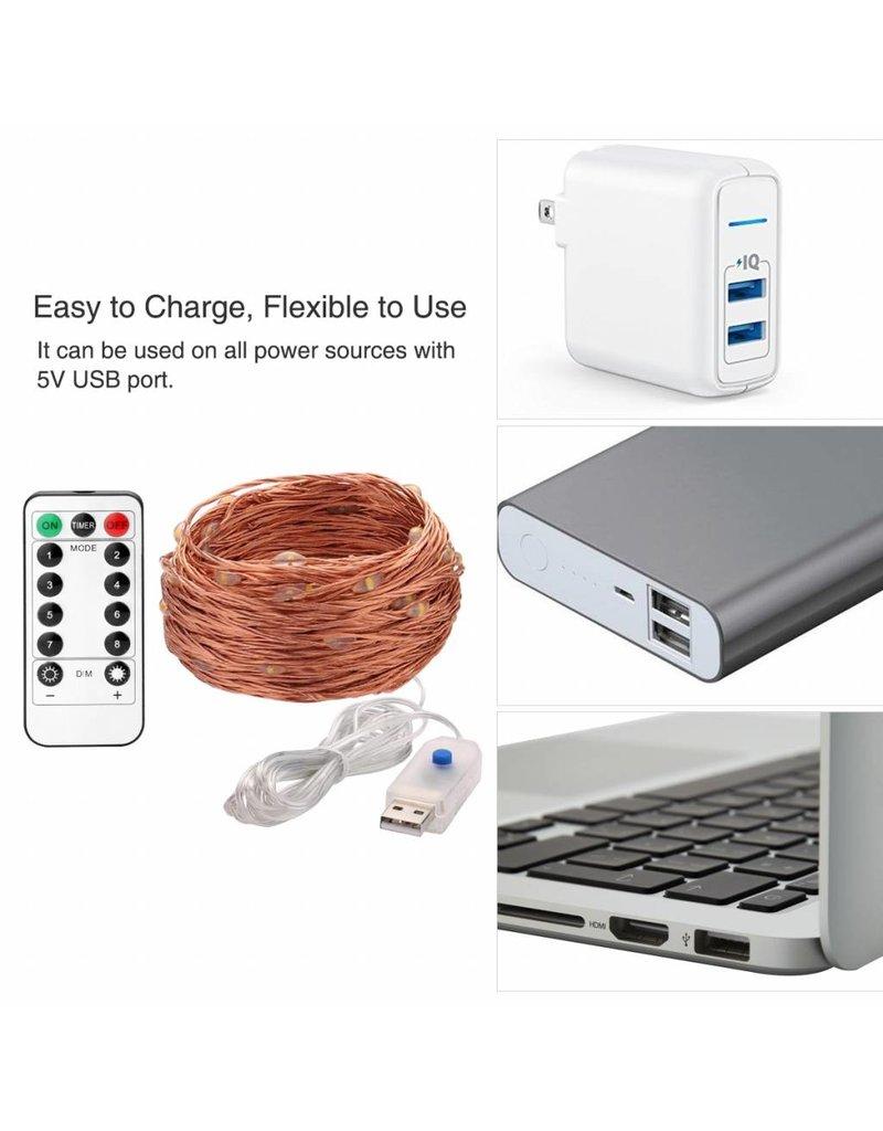 LEDFactory 20M LED Kupferdraht Lichterkette, USB Kupferdraht mit 200 LEDs, IP65 Wasserfest, Warmweiß, Zeitschaltuhr Merkfunktion, mit Fernbedienung