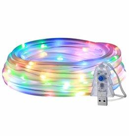 RGB USB Lichtschlauch mit 100 LEDs, 10M LED Lichterkette mit Fernbedienung, IP65 Wasserfest, Zeitschaltuhr Merkfunktion