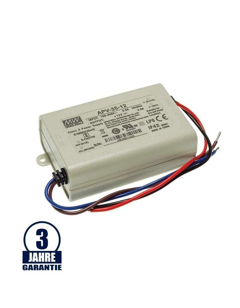 LEDFactory MEAN WELL 12V DC Kunststoff Netzteil IP42  16W bis 36W