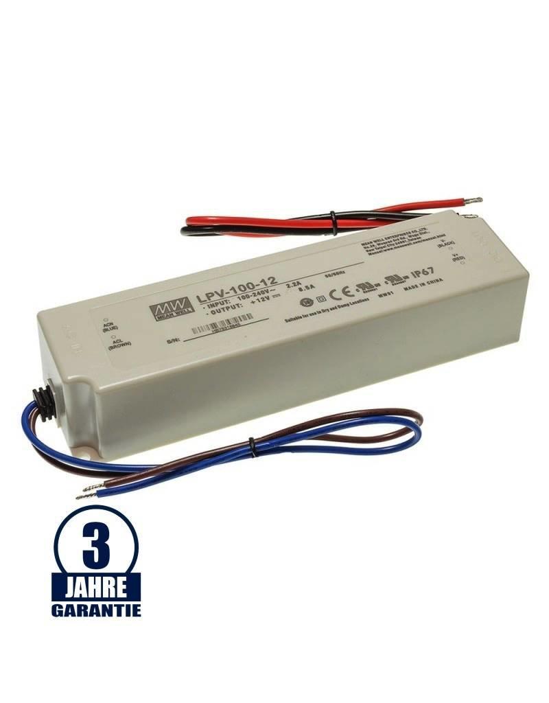 LEDFactory MEAN WELL 12V DC Kunststoff Netzteil Wasserdicht IP67 35W bis 192W
