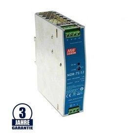 LEDFactory MEAN WELL 12V DC Tragschienen Metall Netzteil 75W bis 120W
