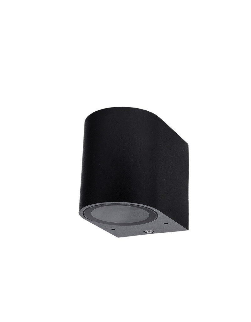 LEDFactory Wandlampe mit GU10 Fassung 1-fach Zylinder Schwarz IP44