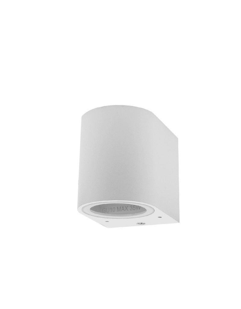 LEDFactory Wandlampe mit GU10 Fassung 1-fach Zylinder Weiß IP44