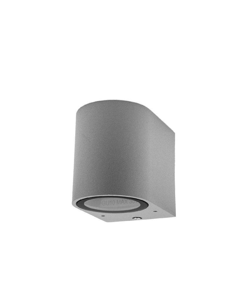 LEDFactory Wandlampe mit GU10 Fassung 1-fach Zylinder Silber IP44