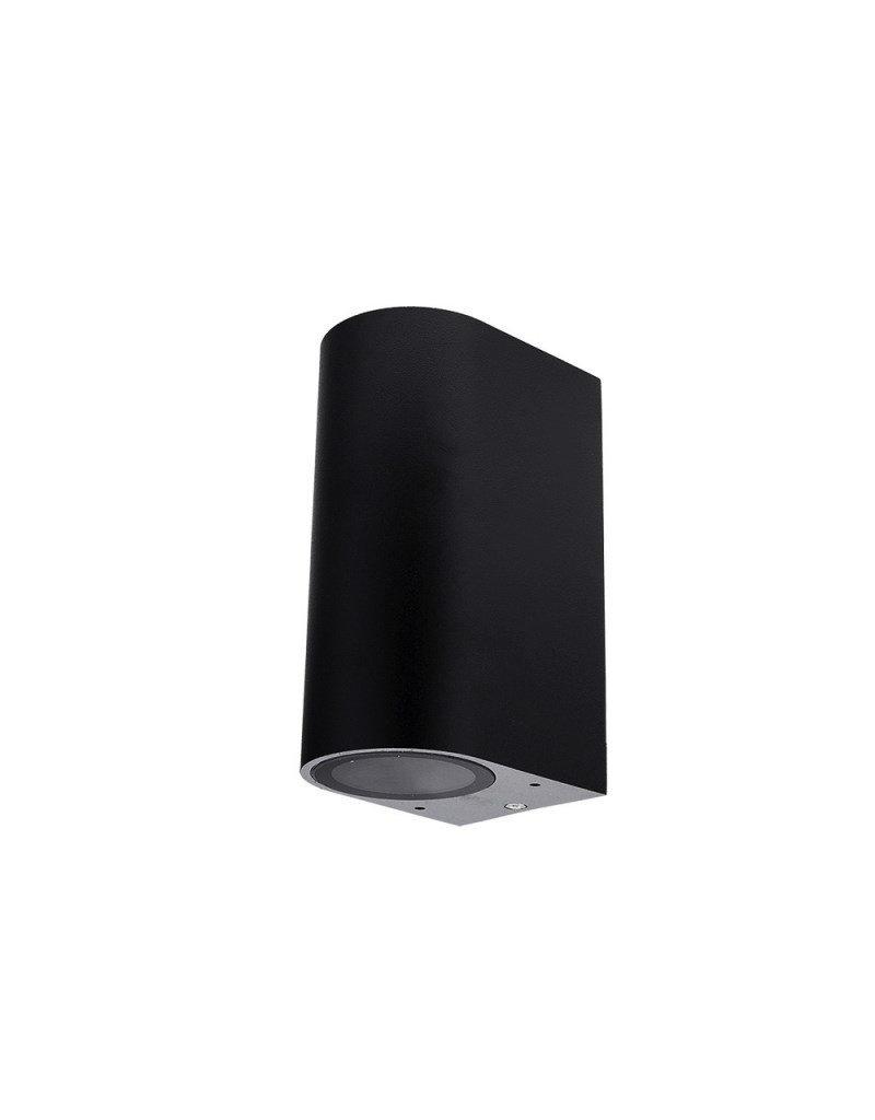LEDFactory Wandlampe mit GU10 Fassung 2-fach Zylinder Schwarz IP44
