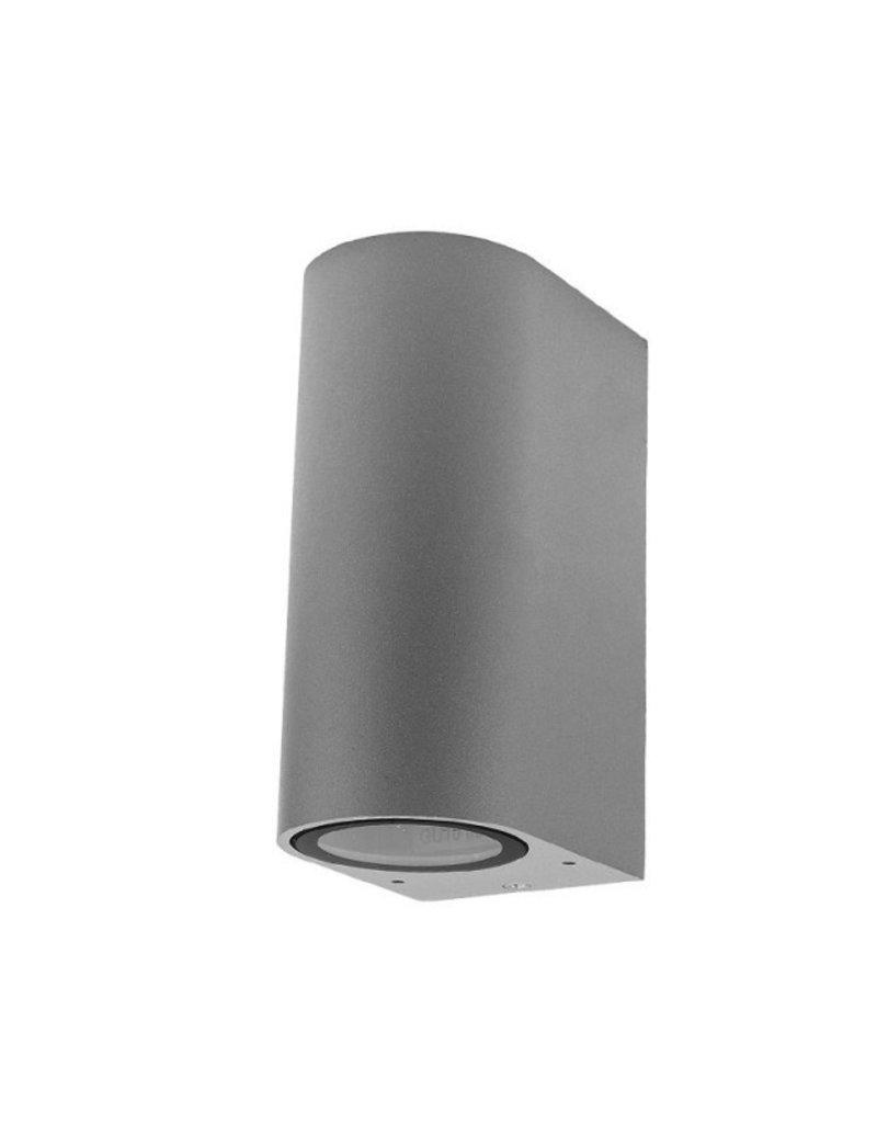 Wandlampe mit GU10 Fassung 2-fach Zylinder Silber IP44