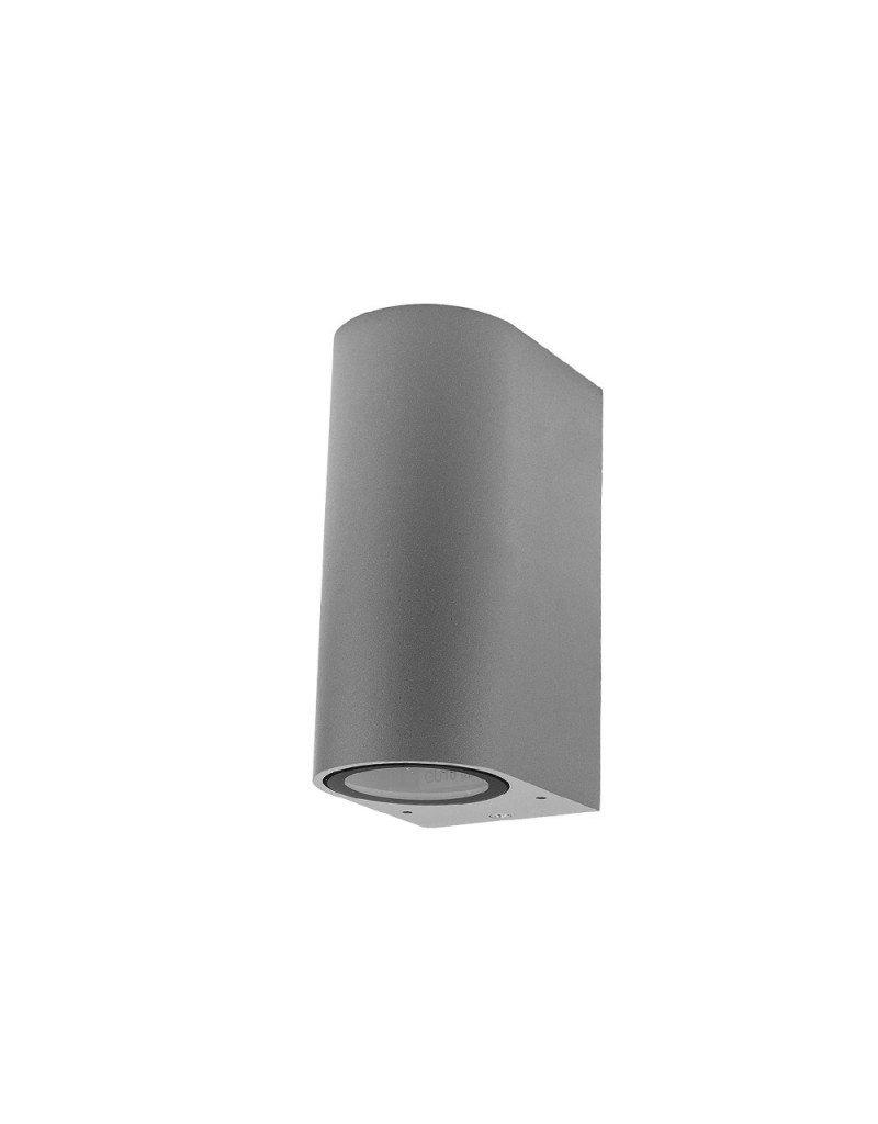 LEDFactory Wandlampe mit GU10 Fassung 2-fach Zylinder Silber IP44
