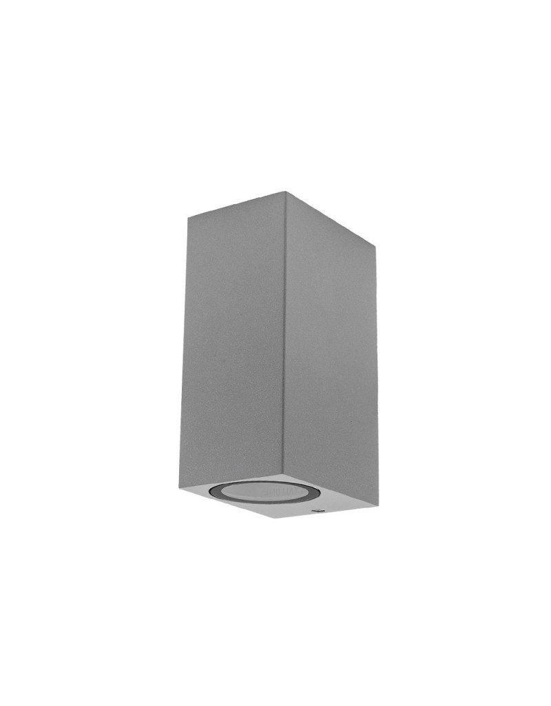 LEDFactory Wandlampe mit GU10 Fassung 2-fach Quader Silber IP44