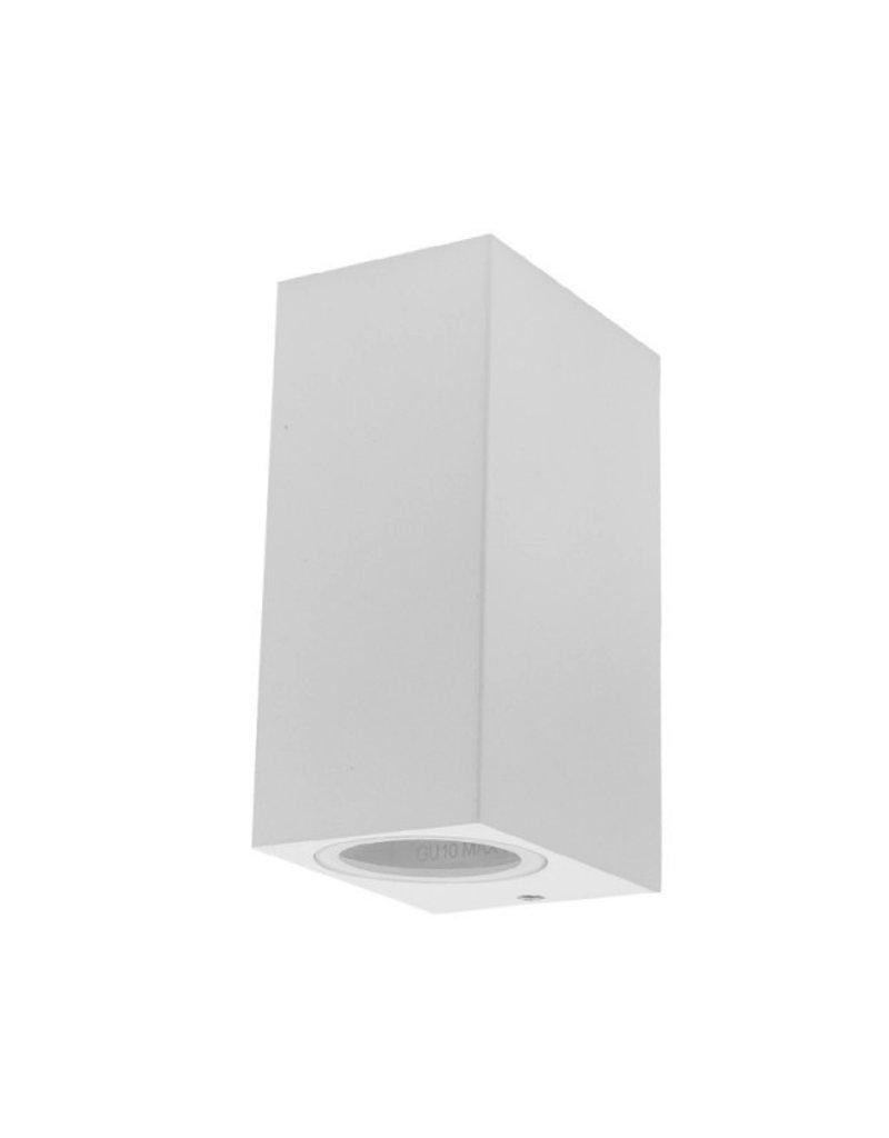 Wandlampe mit GU10 Fassung 2-fach Quader Weiß IP44