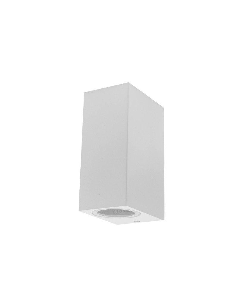 LEDFactory Wandlampe mit GU10 Fassung 2-fach Quader Weiß IP44