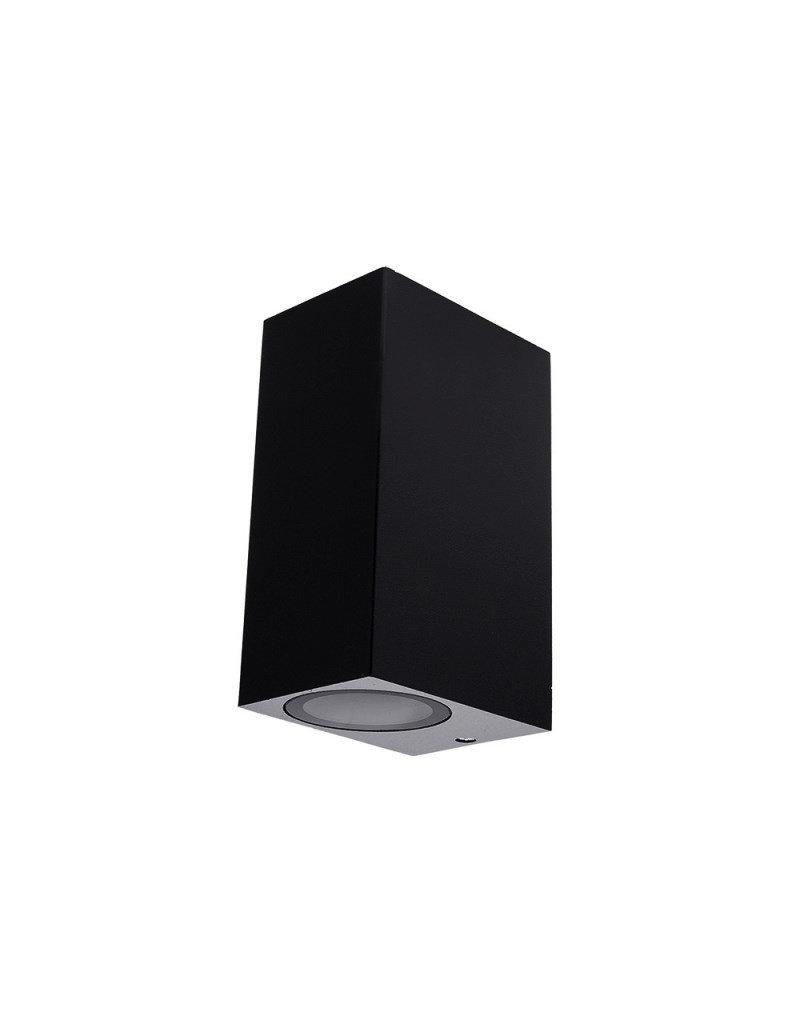 Wandlampe mit GU10 Fassung 2-fach Quader Schwarz IP44