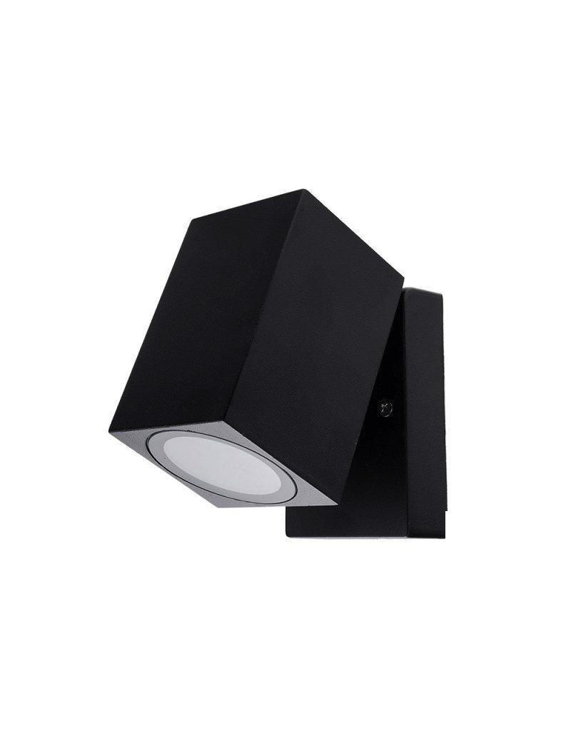 LEDFactory Wandlampe mit GU10 Fassung 1-fach Quader Schwenkbar Schwarz IP44