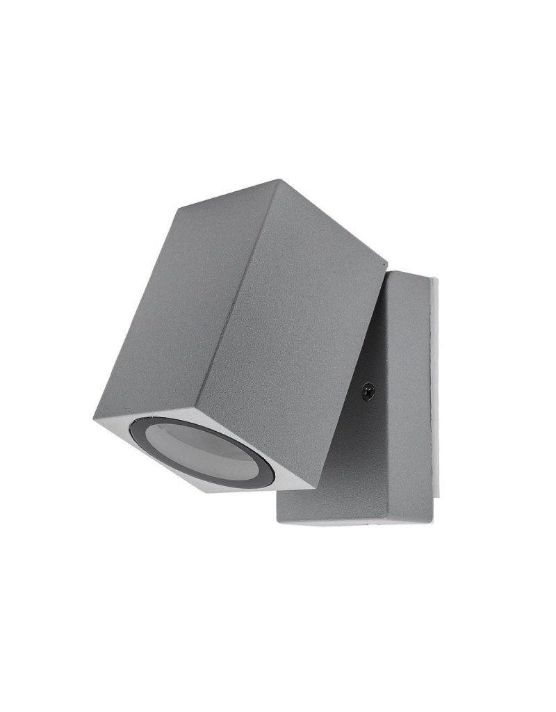 LEDFactory Wandlampe mit GU10 Fassung 1-fach Quader Schwenkbar Silber IP44