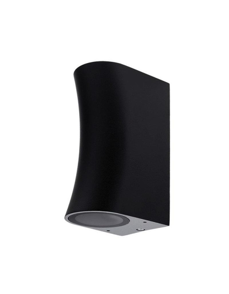 """Wandlampe mit GU10 Fassung 2-fach Zylinder """"Bogen"""" Schwarz IP44"""