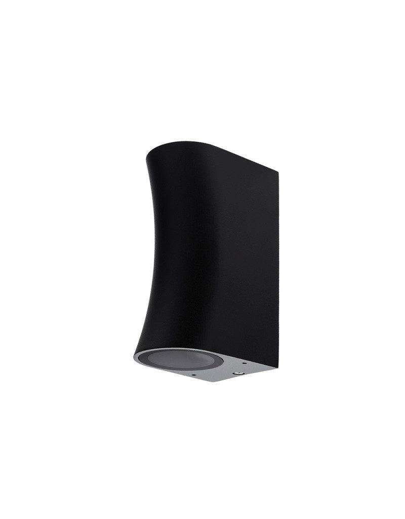 """LEDFactory Wandlampe mit GU10 Fassung 2-fach Zylinder """"Bogen"""" Schwarz IP44"""