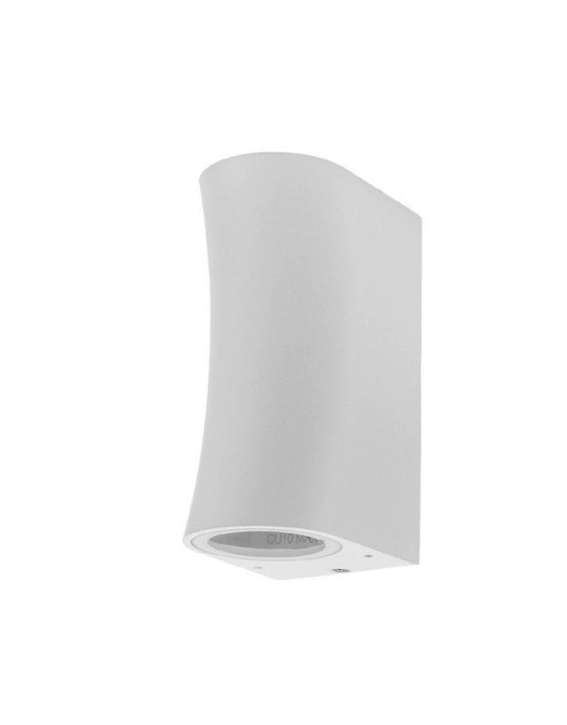 """Wandlampe mit GU10 Fassung 2-fach Zylinder """"Bogen"""" Weiß IP44"""