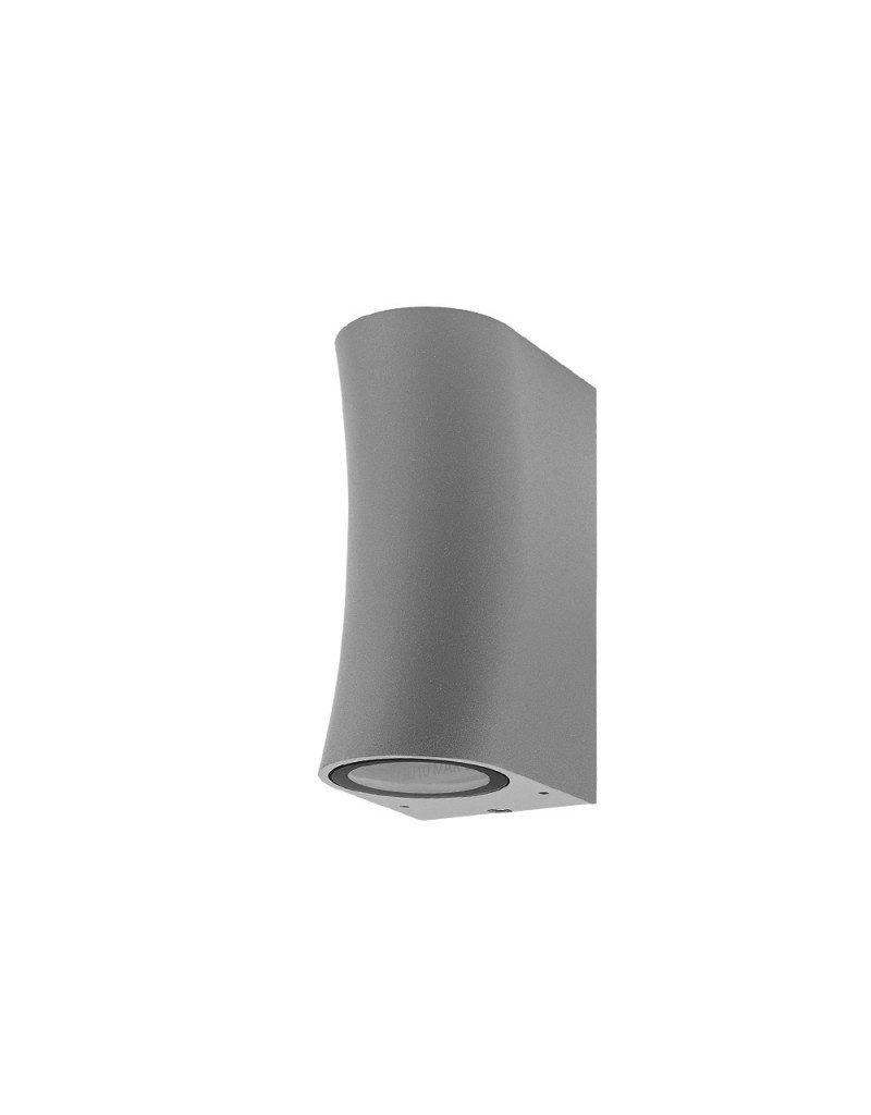 """LEDFactory Wandlampe mit GU10 Fassung 2-fach Zylinder """"Bogen"""" Silber IP44"""
