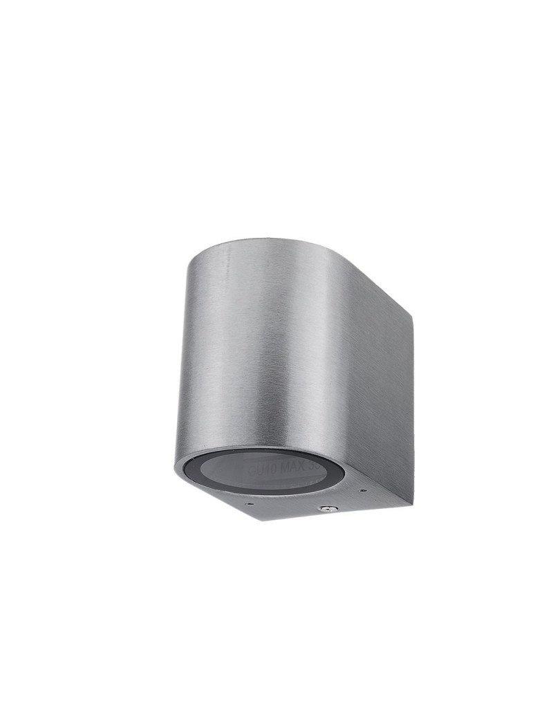 Wandlampe mit GU10 Fassung 1-fach Zylinder Edelstahl IP44