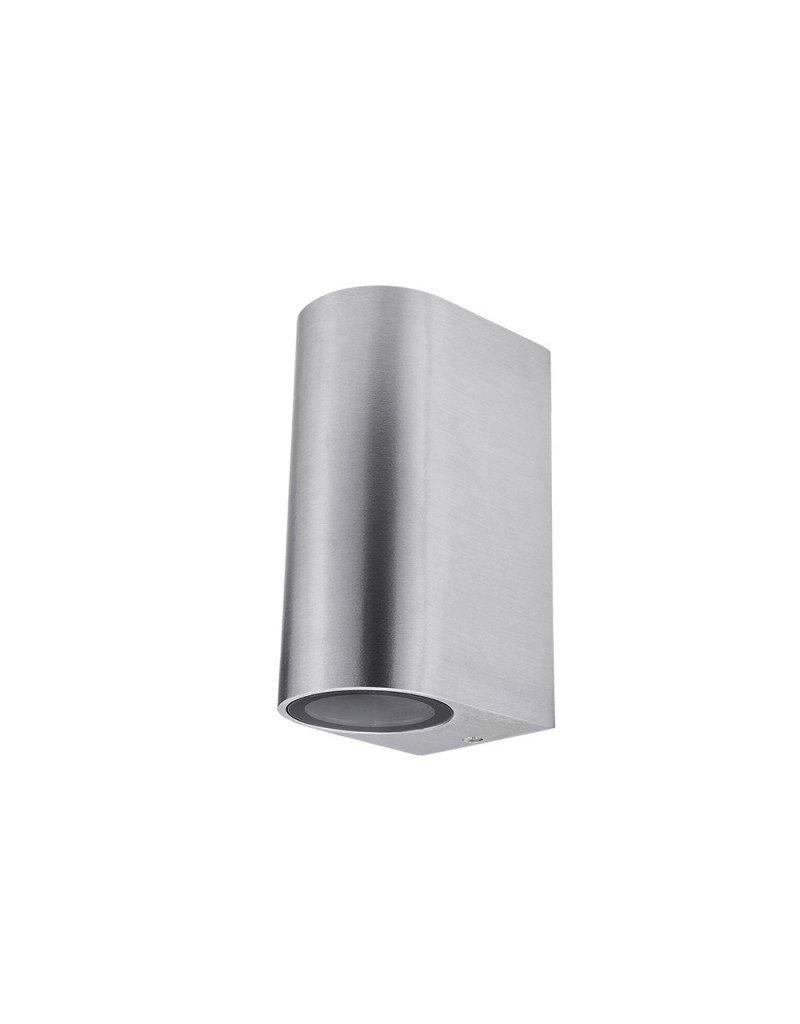 LEDFactory Wandlampe mit GU10 Fassung 2-fach Zylinder Edelstahl IP44