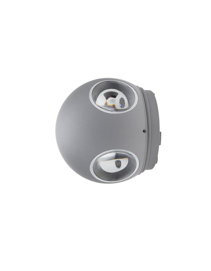 4W LED Wandleuchte Kugel Up and Down, Left and Right Grau IP54 Neutralweiß
