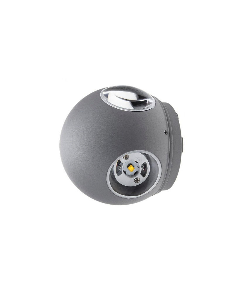 LEDFactory 4W LED Wandleuchte Kugel Up and Down, Left and Right Grau IP54