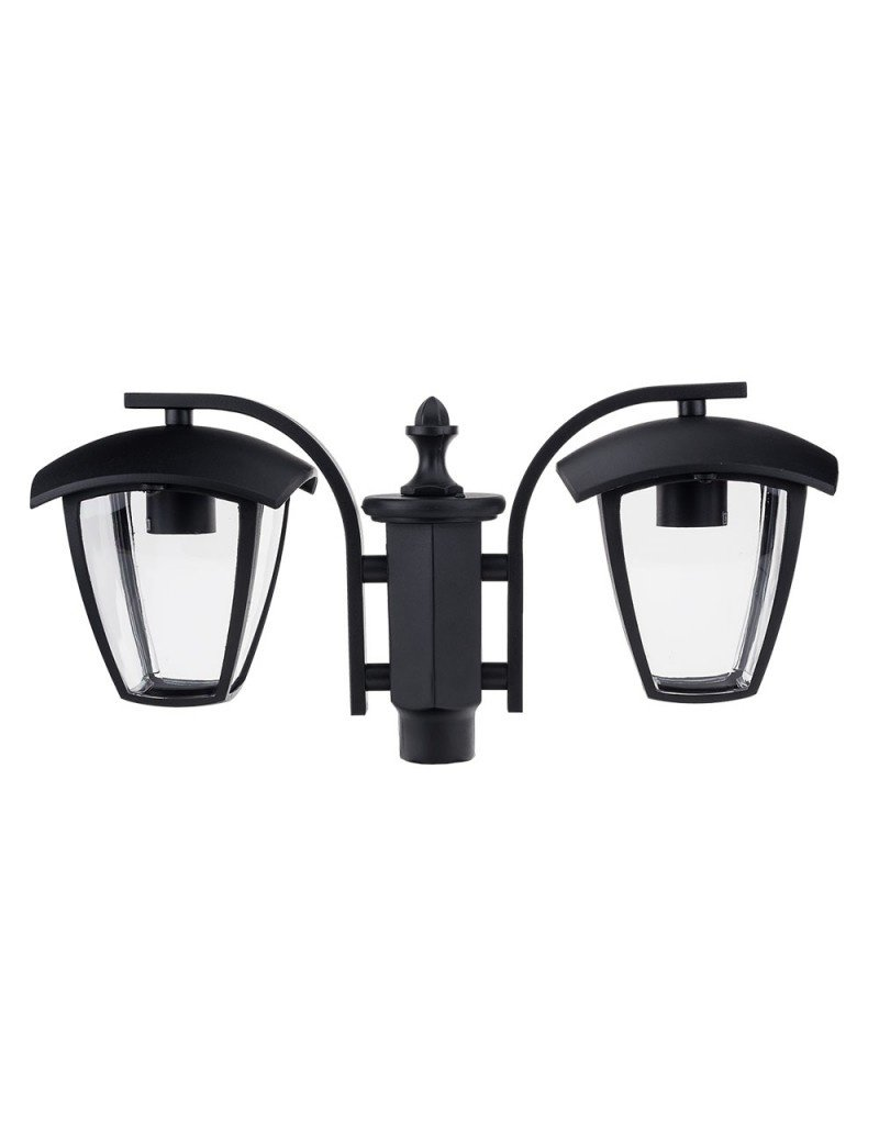 LEDFactory Außen Laterne mit E27 Fassung Mastleuchte 200cm 2-flammig Schwarz