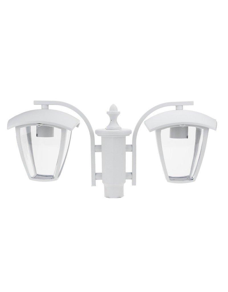 LEDFactory Außen Laterne mit E27 Fassung Mastleuchte 200cm 2-flammig Weiß