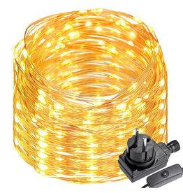 22M LED Kupferdraht Lichterkette mit Schalter, 200er LEDs, Wasserdicht Warmweiß