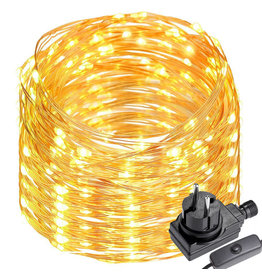 LEDFactory 20M LED Kupferdraht Lichterkette mit Schalter, 200er LEDs, Wasserdicht Warmweiß