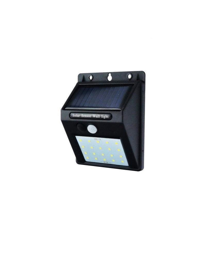LEDFactory 0,75W LED Solar Wandleuchte mit PIR Sensor Schwarz IP54 Kaltweiß