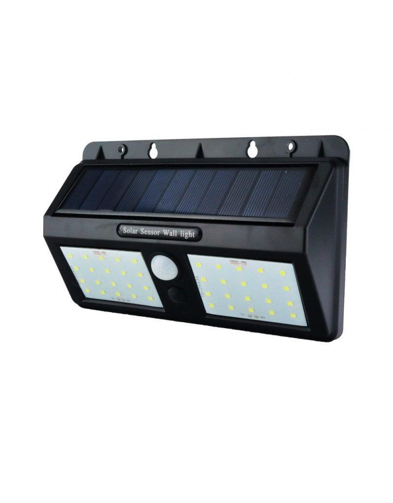 LEDFactory 1,5W LED Solar Wandleuchte mit PIR Sensor Schwarz IP54 Kaltweiß