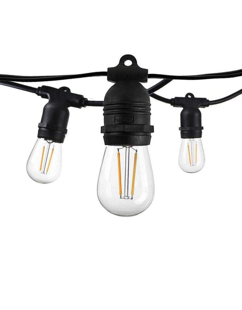 LEDFactory Lichterkette mit E27 Fassung 15 Stk. 14,4 Meter fixer Sockel IP65