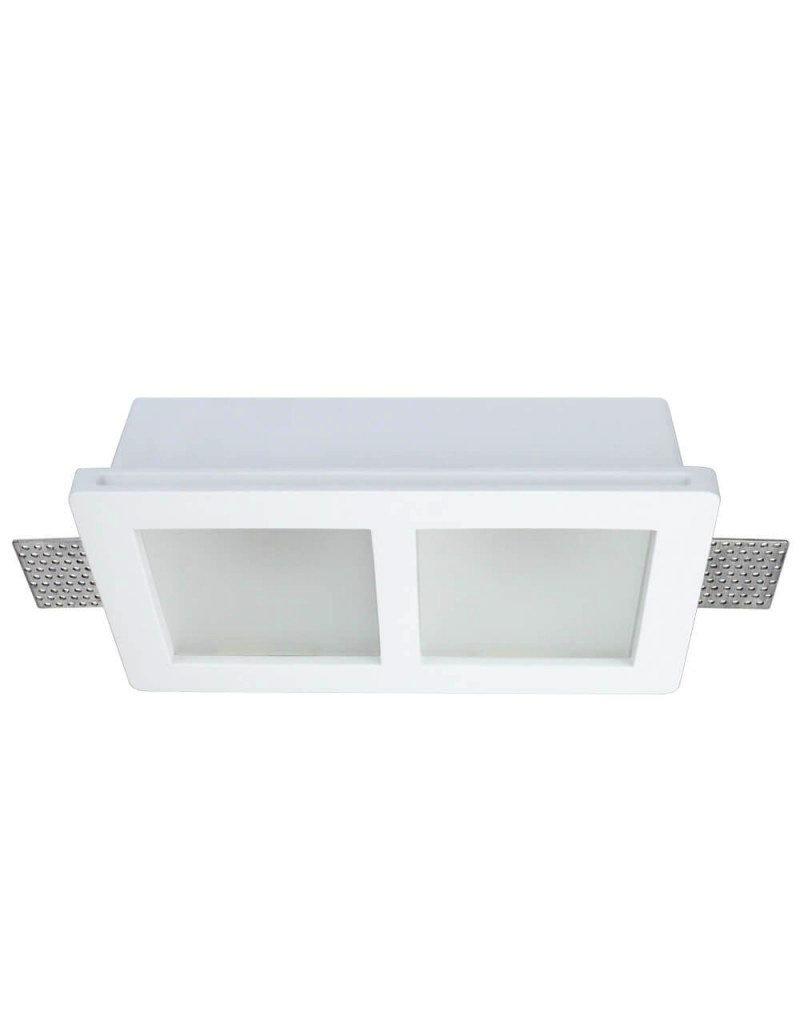 Einbaurahmen Trimless für LED GU10 Quadratisch matt 2-fach Weiß