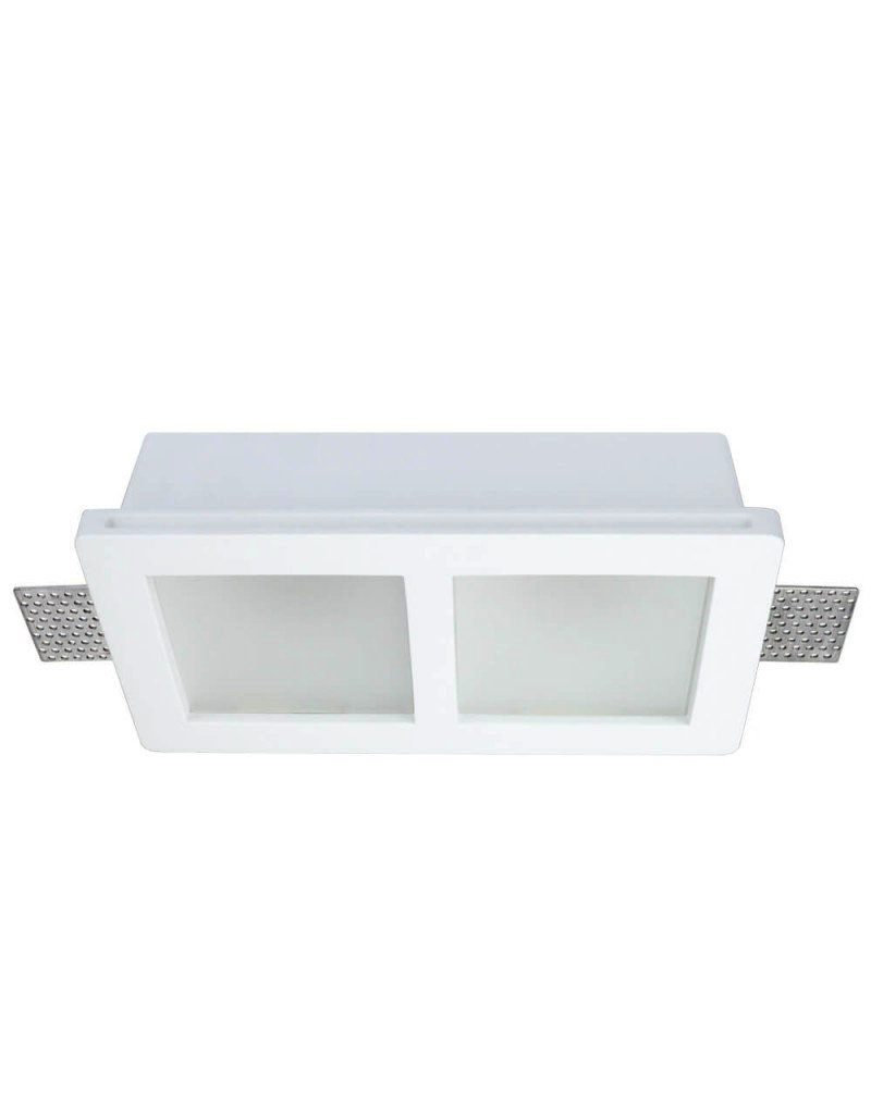 LEDFactory Einbaurahmen Trimless für LED GU10 Quadratisch matt 2-fach Weiß