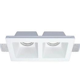 Einbaurahmen Trimless für LED GU10 Quadratisch 2-fach Weiß
