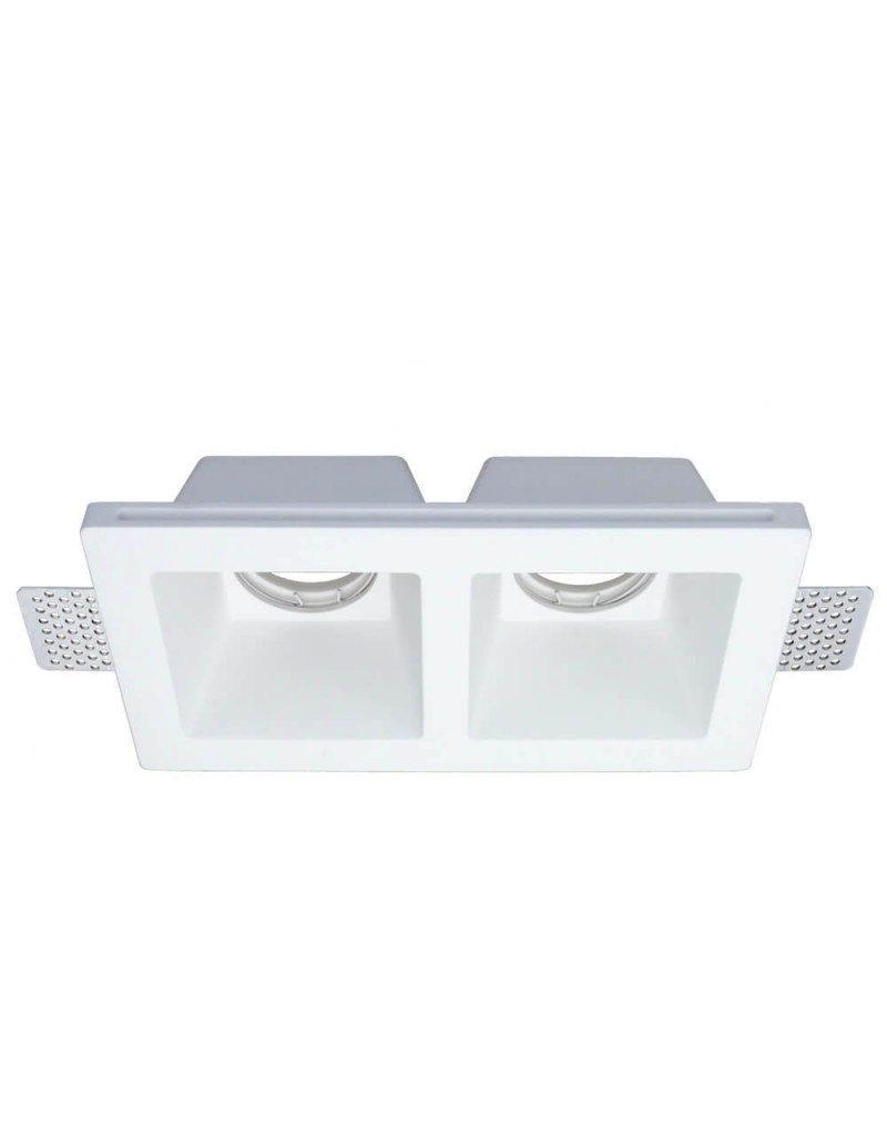 LEDFactory Einbaurahmen Trimless für LED GU10 Quadratisch 2-fach Weiß