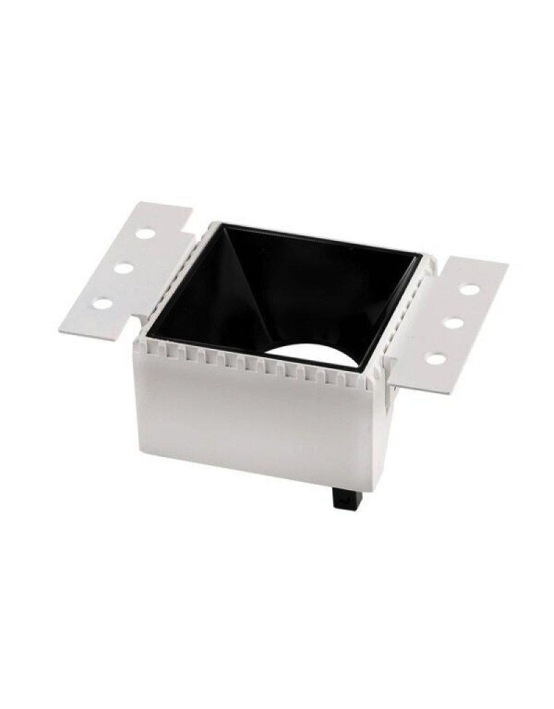Einbaurahmen GU10 Quadratisch Trimless Weiß mit schwarzem Reflektor