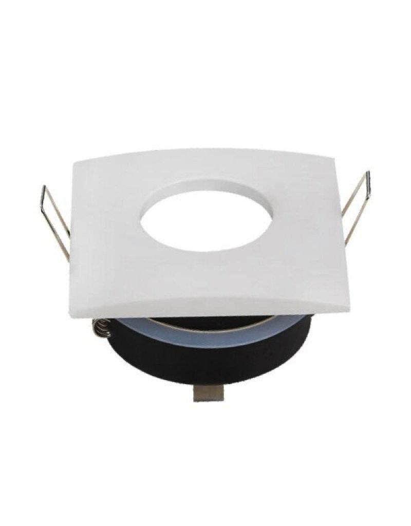 LEDFactory Einbaurahmen für LED GU10 Strahlwassergeschützt Quadratisch Weiß IP65