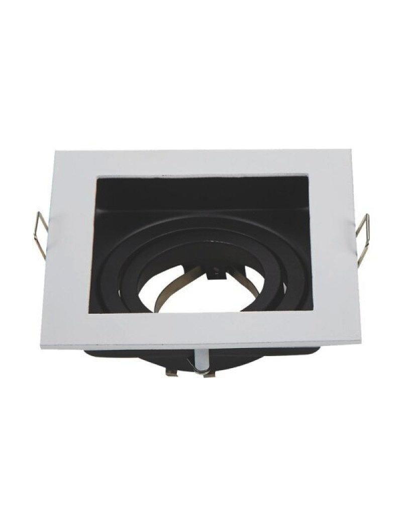 LEDFactory Einbaurahmen Alu für LED GU10 Quadratisch inkl. Fassung Weiß/Schwarz