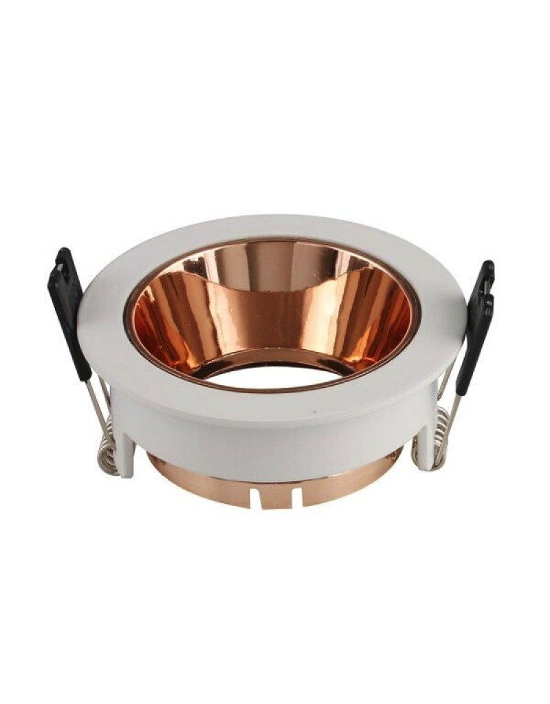 LEDFactory Einbaurahmen für LED GU10 Rund Weiß mit bronzenen Reflektor