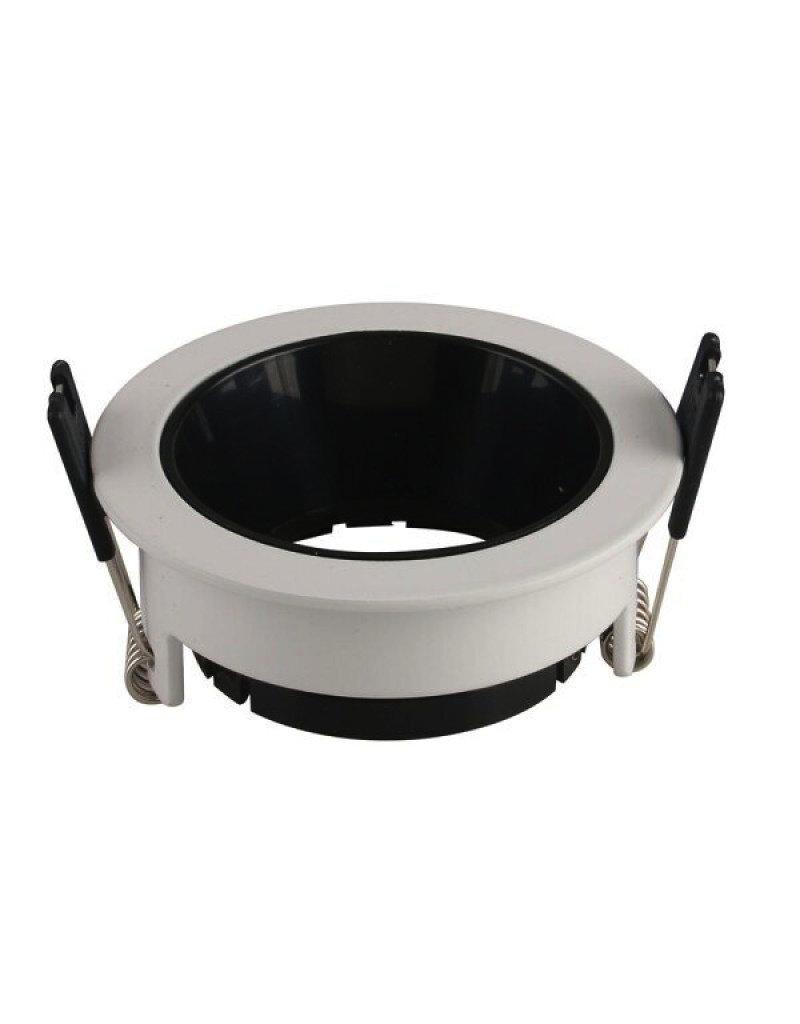 LEDFactory Einbaurahmen für LED GU10 Rund Weiß mit schwarzem Reflektor
