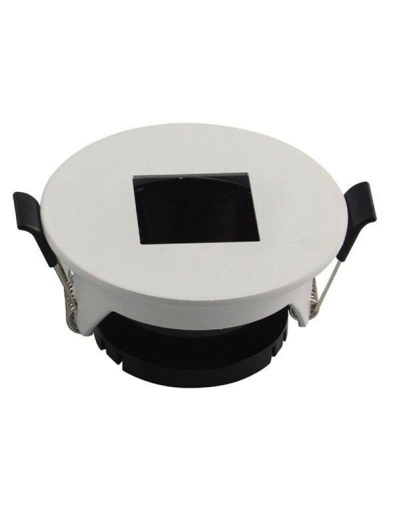 Einbaurahmen für LED GU10 Rund mit quad. Lichtauslass Weiß